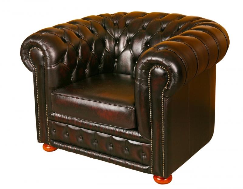 Kožená sedací souprava CARLTON - křeslo oranžová