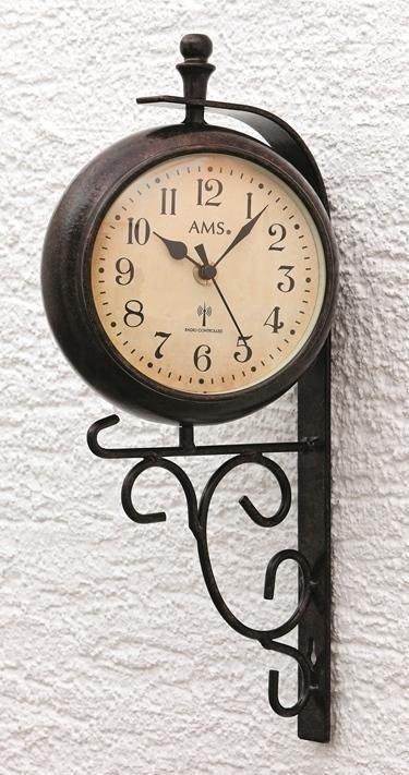 Nástěnné hodiny s teploměrem 5961 AMS řízené rádiovým signálem 38cm